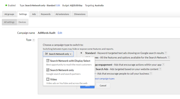 1. Separate the Search & Display Network in Campaign Settings